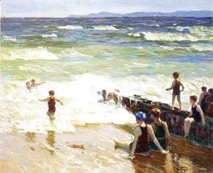 Edward Henry Potthast - Bathers by the Shore