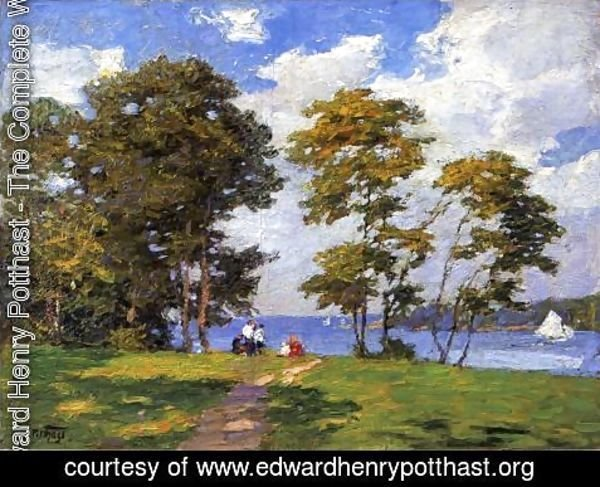 Edward Henry Potthast - Landscape by the Shore (or The Picnic)