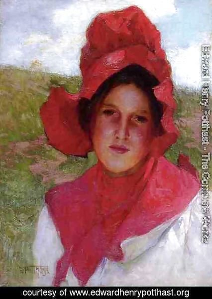 Edward Henry Potthast - Girl in a Red Bonnet