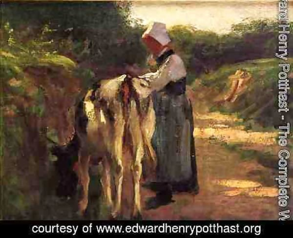 Edward Henry Potthast - Grazing by the Roadside