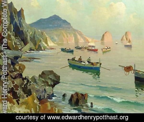 Edward Henry Potthast - Boats in a Rocky Cove