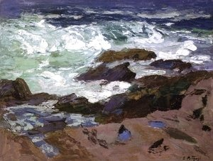 Edward Henry Potthast - Wild Surf, Ogunquit, Maine