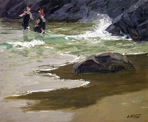 Edward Henry Potthast - Bathers by a Rocky Coast