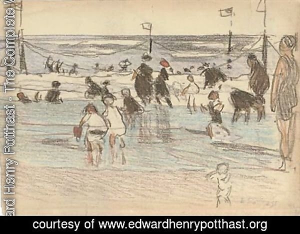 Edward Henry Potthast - Figures at the Beach