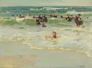 Edward Henry Potthast - Child In Surf